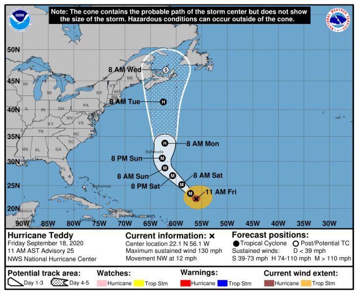 Trasa przebiegu huraganu Teddy (NHC, NOAA)