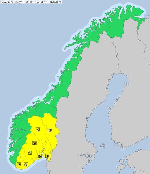 Ostrzeżenia meteorologiczne dla Norwegii (meteoalarm.eu)
