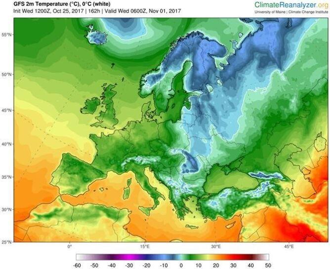 Temperatura o poranku 1 listopada (University of Maine/GFS)