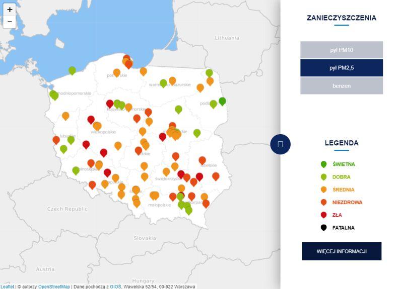 Stężenie pyłu PM2,5 o godzinie 20.30 (tvnmeteo.pl za GIOŚ)