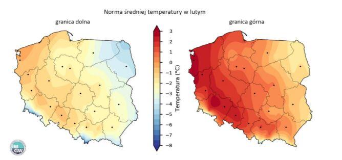 Granice normy wieloletniej średniej temperatury powietrza w lutym (IMGW-Reg, IMGW-Bayes)