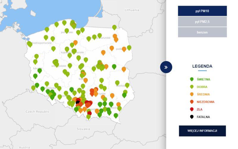 Stężenie pyłu PM10 o godzinie 7 (tvnmeteo.pl za GIOŚ)