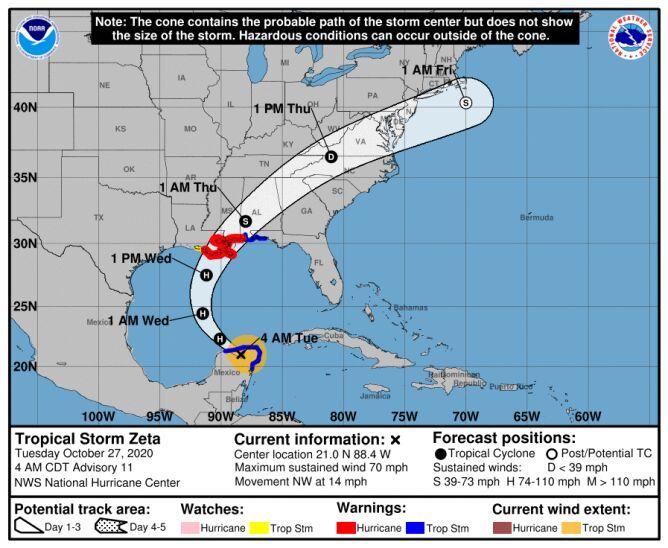 Trasa przebiegu burzy tropikalnej Zeta (NHC, NOAA)